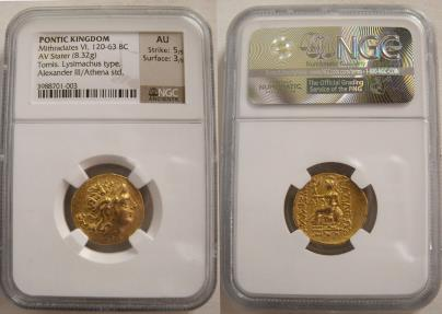 Ancient Coins - PONTIC KINGDOM, Mithradates VI. 120-63 BC. Gold Stater. Tomis Mint. NGC-AU.