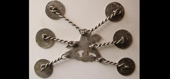 Ancient Coins - SOUTH AMERICA. Early 18th Century. Custom hand-made silver decorative hold. Extremely rare.