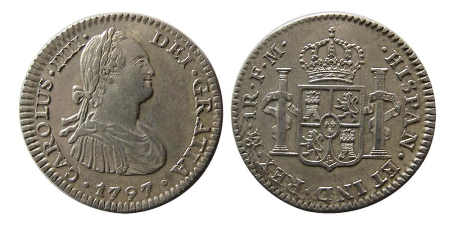 World Coins - MEXICO, Colonial. Carlos IV. King of Spain, 1788-1808. Silver One Reale. 1797, FM.