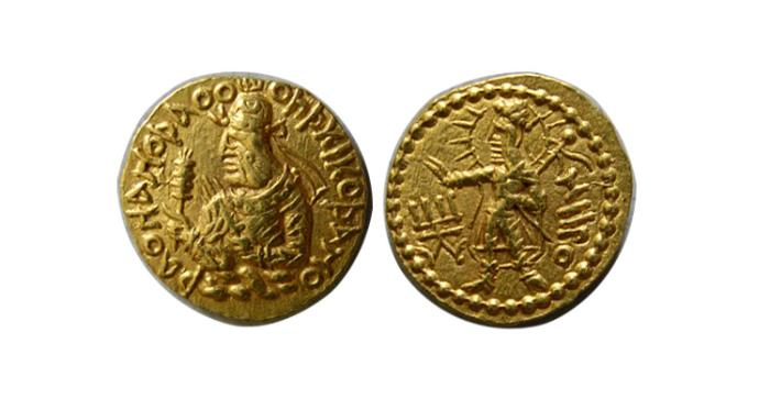 Ancient Coins - KUSHAN KINGS of INDIA. Huvishka. Circa 126-164 AD. AV Quarter Dinar
