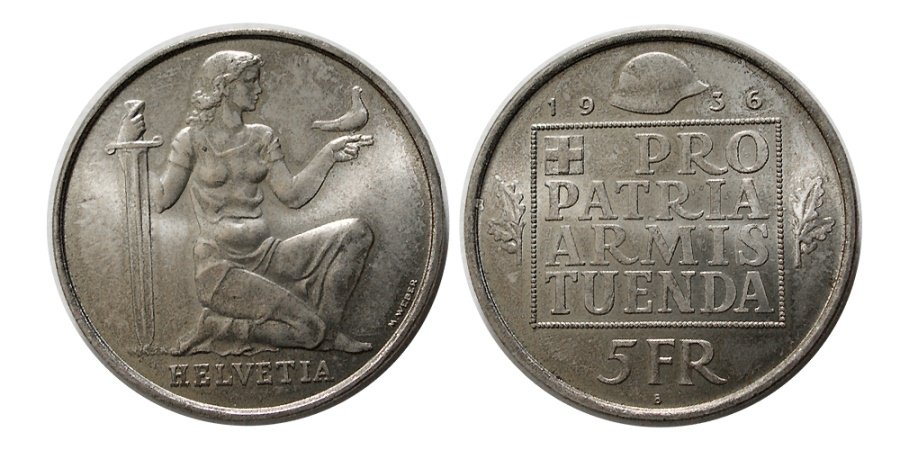 World Coins - SWITZERLAND. 1936. Silver 5 Franc.
