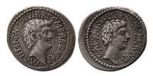 Ancient Coins - ROMAN EMPIRE. Mark Antony & Octavian. 41 BC. AR Denarius. Rare. Ex. Bank Leu AG.