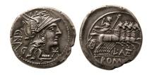 ROMAN REPUBLIC. L. Antestius Gragulus. Ca. 136 BC. AR Denarius. Lovely strike.