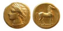 Ancient Coins - ZEUGITANIA. Carthage. Circa 350-320 BC. Gold Stater.
