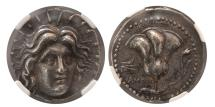 Ancient Coins - CARIAN ISLANDS. Rhodes. Ca. 229-205 BC. Silver Tetradrachm. NGC AU* (Strike 5/5; Surface 4/5).