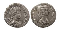 Ancient Coins - ROMAN EMPIRE. Julia Domna with Caracalla. 201 AD. AR Denarius. Lovely style. Very Rare.