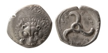 Ancient Coins - LYCIAN DYNASTS. Ca. 380 BC. AR Drachm. Over struck on an earlier coin.