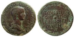 Ancient Coins - ROMAN EMPIRE. Nero. as Caesar, AD. 50-54. Æ Sestertius. Lovely strike. Rare.