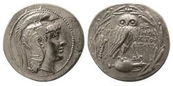 Ancient Coins - ATTICA, Athens. Ca. 136-135 BC. AR Tetradrachm. New Style Coinage.
