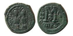 Ancient Coins - BYZANTINE EMPIRE. Justin II, with Sophia. AD. 565-578. Æ Follis.