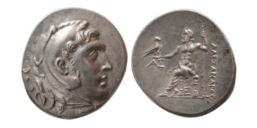 Ancient Coins - KINGS of MACEDON. Alexander III. 336-323 BC. Silver Tetradrachm. Posthumous issue. Aspendus, dated CY 5 (208/7 BC).