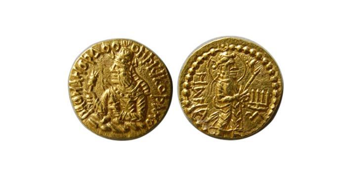 Ancient Coins - INDIA. KUSHAN KINGS. Kanishka I. Circa 127/8-152 AD. AV Quarter Dinar