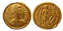 Ancient Coins - ROMAN EMPIRE. Honorius. AD. 393-423. Gold Solidus. Ravenna. Choice FDC. Lustrous.