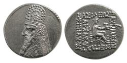 Ancient Coins - PARTHIAN KINGS. Mithradates III. Circa 87-79 BC. AR Drachm. Elegant style. Choice FDC.