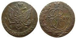 "World Coins - RUSSIA, Catherine II, ""the Great"". 1762-1792. Æ 5 Kopecks. Ekatrinburg mint. Dated 1780."