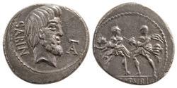 Ancient Coins - ROMAN REPUBLIC. L. Titurius L.f. Sabinus. Ca. 89 BC. Silver Denarius. Lovely strike.