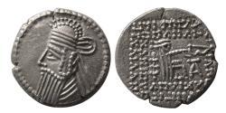 Ancient Coins - KINGS of PARTHIA. Vologases IV. Circa AD. 147-191. AR Drachm. Ekbatana mint.