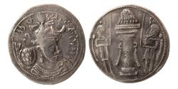 Ancient Coins - SASANIAN KINGS. Yazdgird (Yazdgard) I. AD. 399-420. AR Drachm. Herat mint. Rare.