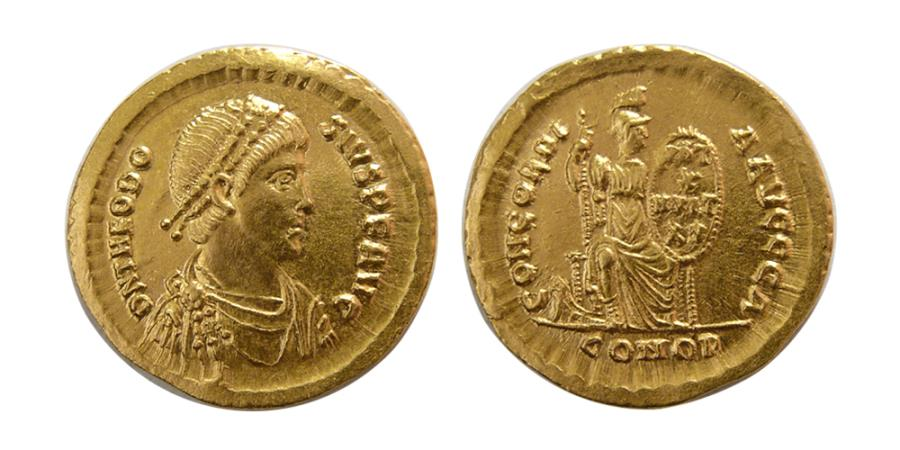 Ancient Coins - ROMAN EMPIRE. Theodosius I. AD 379-395. Gold Solidus. Choice FDC. Fully lustrous.