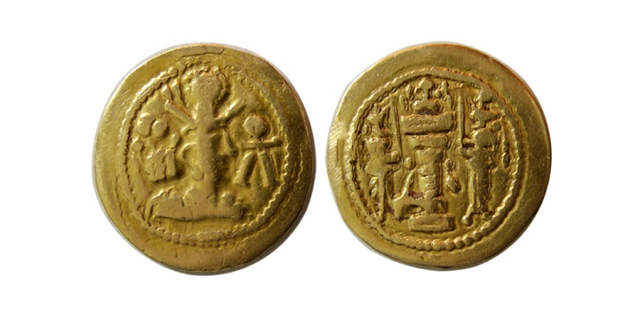 Ancient Coins - SASANIAN KINGS. Shapur II. AD. 309-379. Gold 1/6-Dinar. Exceedingly rare and possibly unique. From The Sunrise Collection.