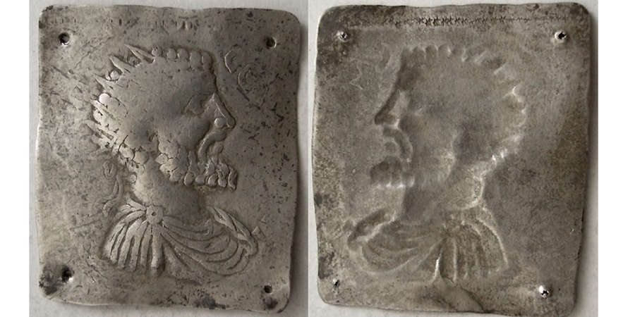 Ancient Coins - ROMAN Silver Square Plaque. Ca. 3rd Century AD.  Rare.
