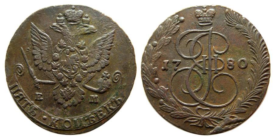 "World Coins - RUSSIA, Catherine II, ""the Great"". 1762-1792. Æ 5 Kopecks. Ekatrinburg mint. Dated 1780."