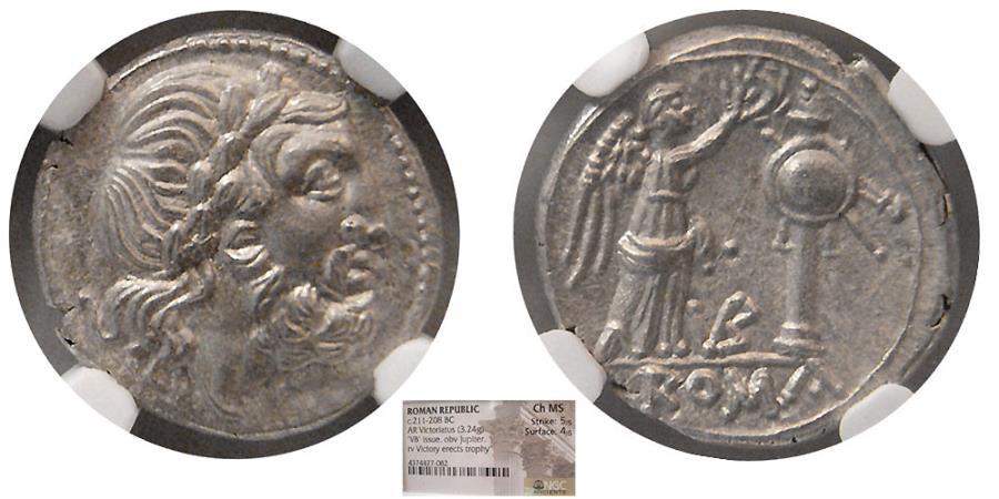 Ancient Coins - ROMAN REPUBLIC. Anonymous. Circa 211-208 BC. AR Victoriatus. NGC-Choice MS.