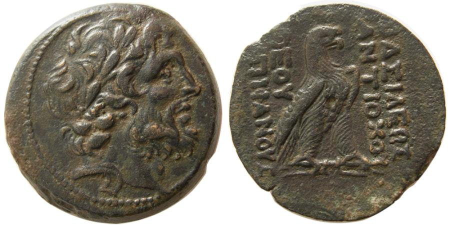 Ancient Coins - SELEUKID KINGS, Antiochos IV. 175-164 BC. Æ. Lovely strike. Exceptional quality for this rare issue.