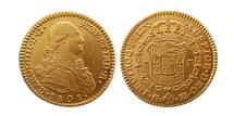 World Coins - MEXICO. Carlos IV. 1788-1808. Gold 2 Escudos. dated 1801. Mo-FA. Lustrous.