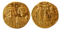 BYZANTINE EMPIRE. Constans II, with Constantine IV. 641-668 AD. AV Solidus. F.D.C. Lustrous.
