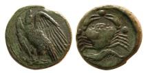 Ancient Coins - Sicily, Akragas. Circa 420-406 BC. Æ Tetras. Lovely strike.  Rare.