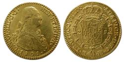 World Coins - SPAIN. Charles IV. 1788-1808. Gold 2 Escudos. Madrid mint; FA, assayer. Dated 1801.