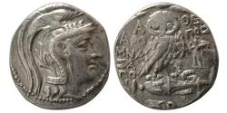Ancient Coins - ATTICA, Athens. Ca. 96-95 BC. AR Tetradrachm. New Style Coinage. Winged Agon.