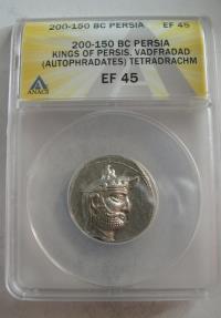 Ancient Coins - KINGS of PERSIS; Vadfradad (Autophradates) II. 200-150 BC. AR Tetradrachm. ANACS-EF 45.