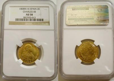 World Coins - SPAIN. Carlos IV, 1788-1808. Gold 2 Escudos. 1808M, AI.  NGC AU-58.
