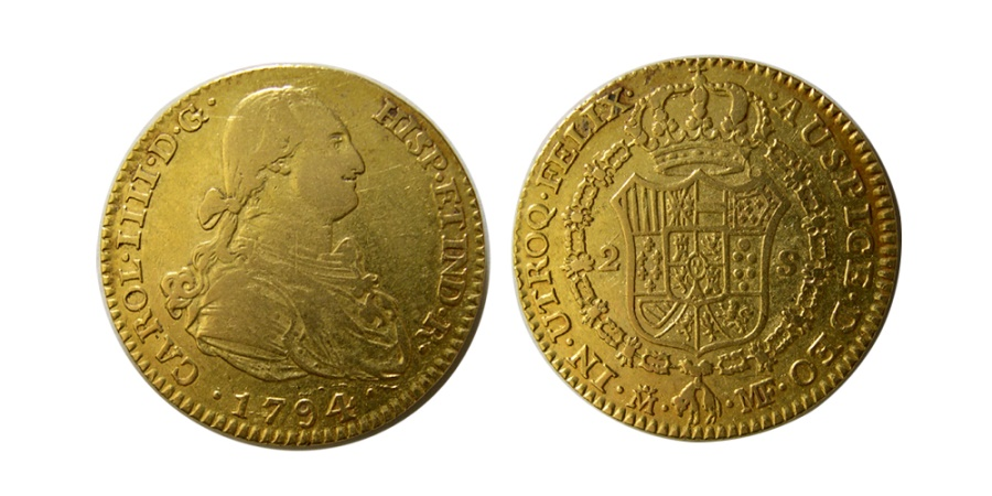 World Coins - COLOMBIA. Carlos IV. 1788-1807. POPAYAN. Gold 2 Escudos, dated 1794.