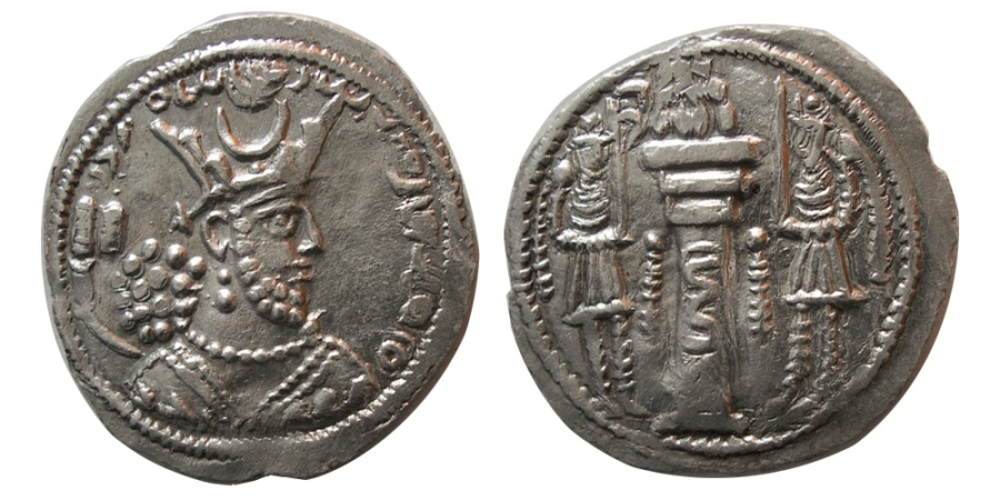 Ancient Coins - SASANIAN KINGS. Varhran (Bahram) V. AD. 420-438. Silver Drachm.  From The Sunrise Collection.