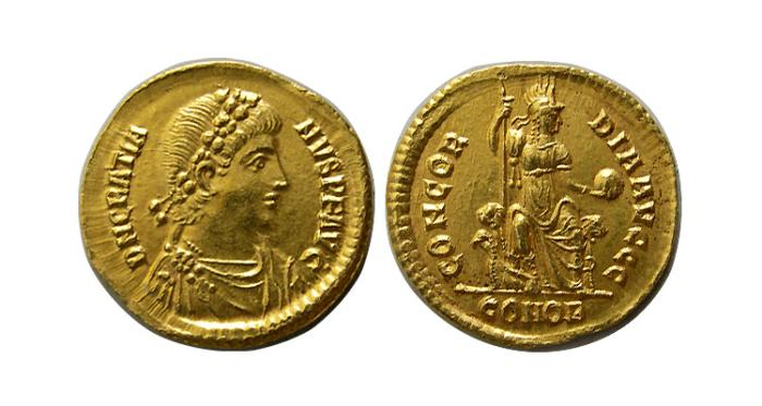 "Ancient Coins - ROMAN EMPIRE. GRATIAN. 367-383 AD. Gold Solidus.  Choice Superb ""As Struck"" with luster."