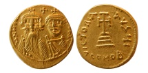 BYZANTINE EMPIRE. Constans II, with Constantine IV. 641-668 AD. AV Solidus.