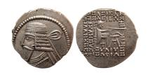 Ancient Coins - KINGS OF PARTHIA, Vologases I. second reign, ca. AD 58-77. Silver Drachm.  Lovely strike.
