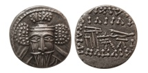 KINGS OF PARTHIA. Vologases V. Circa AD. 191-207/8. AR Drachm. Rare.