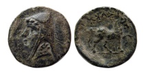 KINGS OF PARTHIA. Phriapatius. 185-170 BC. AE chalkous. Lovely strike. Rare.