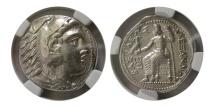 Ancient Coins - KINGS of MACEDON. Alexander III. 336-323 BC. AR Tetradrachm. NGC-EF. Early Posthumous issue.