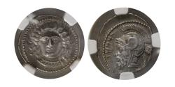Ancient Coins - CILICIA. Tarsus. Datames, as Satrap, 385-362 BC. AR Stater. NGC-AU (Strike 5/5; Surface 4/5).