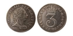 World Coins - GREAT BRITAIN. George III. 1760-1820. AR 3 Pence. dated 1762.