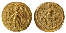 Ancient Coins - INDIA, KUSHAN EMPIRE. Vasudeva II. Circa AD. 290-310. AV Dinar. Lustrous.