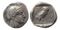 Ancient Coins - ATTICA, Athens. Ca. 465-454 BC. Silver Tetradrachm. Full crest. Lovely example for this earlier issue.