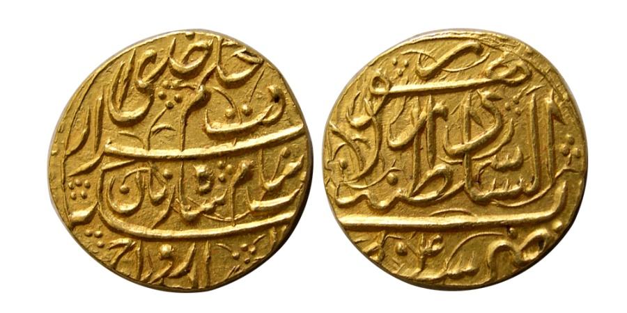 Ancient Coins - DURRANI KINGS. Zaman Shah. AH 1207-1215 / AD 1793-1800. Gold Mohur. Lahore mint, year 4.  Rare.