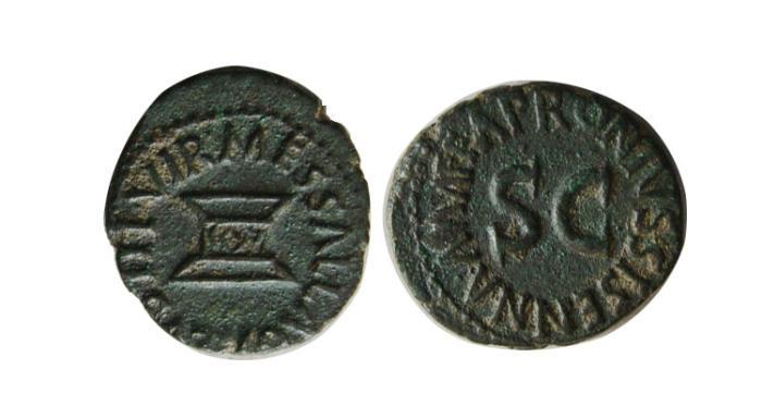 Ancient Coins - ROMAN EMPIRE. Augustus. 27 BC-14 AD. AE Quadrans