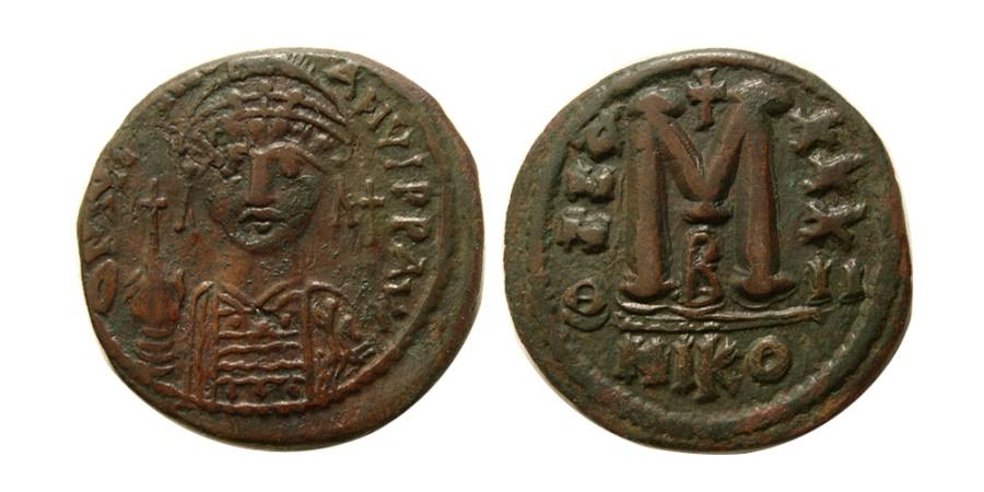 Ancient Coins - BYZANTINE EMPIRE. Justinian I, 527-565. Æ Follis. Nicomedia.